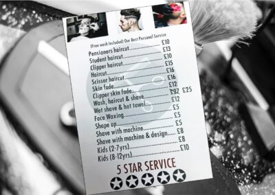 Moda Barbers - pricelist